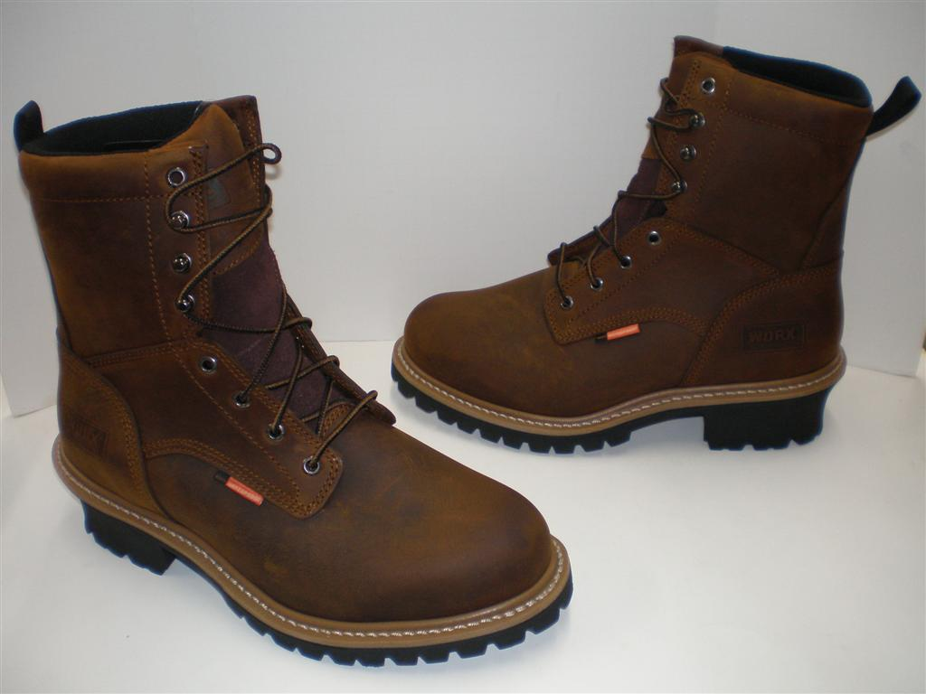 "NIB WORX by Red Wing 8 "" STEEL TOE LOGGER Boots 5982 Dark ..."