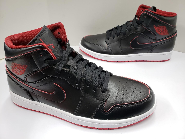 premium selection 04015 ae0e8 NIB Mens Nike Air Jordan 1 Mid Black Black White Gym Red 554724 028 ...