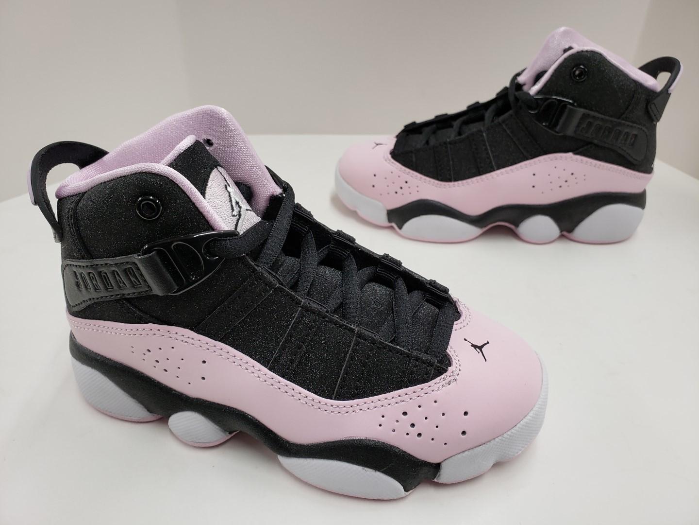 e1405e165466 Kids Girls Jordan 6 Rings (PS) Pre-School Black Pink Foam Anthracite ...